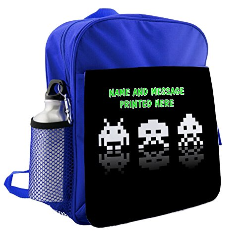 Personalised Retro Gamers Space Invaders Blue Childrens Backpack Kids Rucksack - Childs School Bag