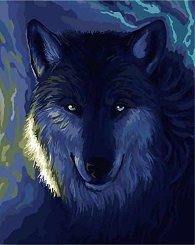 Godagoda Diy Oil Painting Paint By Number Kit Wolf Moonlit Night