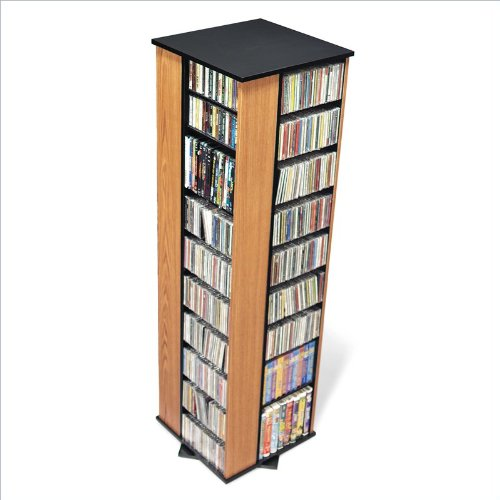 Oak & Black 4-Sided Large Spinning Multimedia (DVD,CD,Games) Storage Tower By Prepac