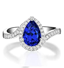 buy 1.50 Carat Pear Cut Sapphire And Diamond Curved Engagement Ring For Women In White Gold