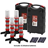 Twinkle Star Emergency Roadside Flares Kit LED Safety Strobe Road Warning Light Highway Beacon Alert Flare with Magnetic Base, Detachable Stand, Solid Storage Case, Set of 4