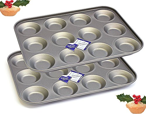 12 Hole Bun Tin Twinpack, For Buns, Fairy Cakes, Tarts and Mince Pies, 2 x Non Stick Baking Trays British Made