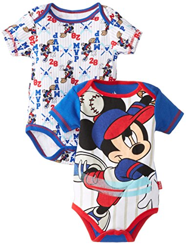 Disney Baby Boys Newborn Mickey Mouse 2 Pack Bodysuit, Blue, 3-6 Months front-445720