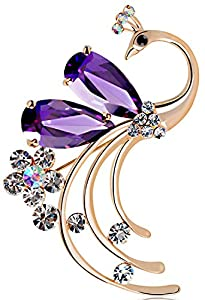 Latigerf Women's Peacock Bird Purple Swarovski Elements Crystal Brooches and Pin Gold Plated for Party