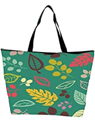Snoogg Colorful Leaves Blue Designer Waterproof Bag Made Of High Strength Nylon