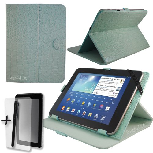 "Luxus Blau Krokodil Lederner Tasche Case Hülle für Point of View ProTab 2 IPS 9.7"" 9.7 Zoll Inch Tablet-PC+ Bildschirmschutzfolie + Stylus Stift (schutztasche / decken / cover / stehen / displayschutzfolie)"