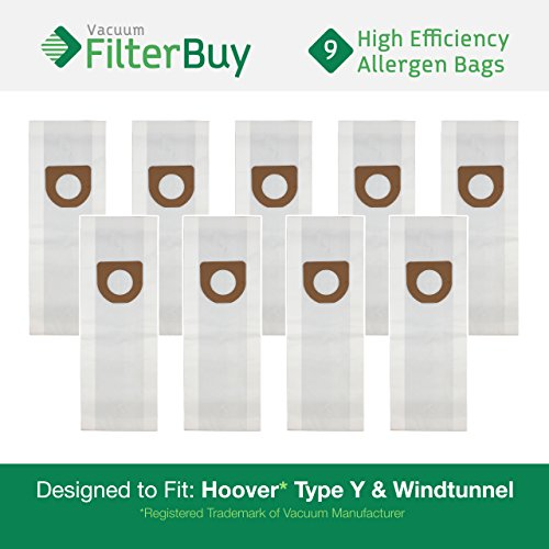 Lowest Prices! 9 Hoover Windtunnel Upright Type Y Vacuum Bags. Designed by FilterBuy to Replace Hoov...