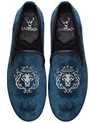 Blue Hand Made Velvet Slipon Shoes With Lion King Embroidery For Men By Bareskin /Designer Leather Shoe/Slip Resistant...