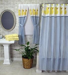 Rubber Ducky Navy Blue Stripes Shower Curtain Cheapest Hoangnam10018