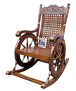 National Handicrafts National Handicrafts Carved Rocking Chair / Wooden Rocking Chair/Grandpaa Chair/ Relax Chair/ Eezy Chair
