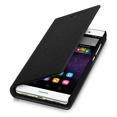 kwmobile Cover Flip Case per Huawei P8 Lite - Custodia protettiva richiudibile in stile flip cover in nero