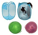 Green Folding Foldable Pop Up Mesh Laundry Basket Bag Kids Room Toy Tidy Storage