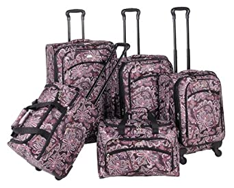 American Flyer Luggage Paisley 5 Piece Set Spinner, Chocolate, One Size