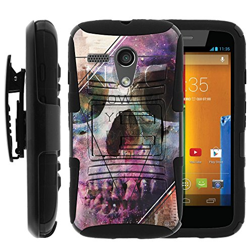 Moto G 1st Gen Case, Moto G 1st Gen Holster, Double Layer Hybrid Armor Hard Cover with Built in Kickstand and Unique Graphic Images for Motorola Moto G XT1032 (Verizon, Boost Mobile, Sprint, US Cellular, Cricket) from MINITURTLE | Includes Screen Protector - Show Me Your Dark Side (Phone Cases Moto G Boost Mobile compare prices)