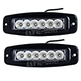 LITE-WAY 18W Flush Mount LED Pod Flood Work Light Bar for Off road Driving 4wd Atv Utv Suv Truck Drl Backup /Reverse Light White Light 6000K