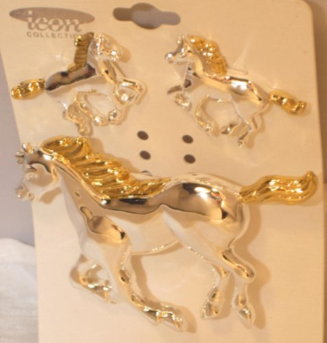 Running Horse Pierced Post Earrings and Brooch Pin Matching Set