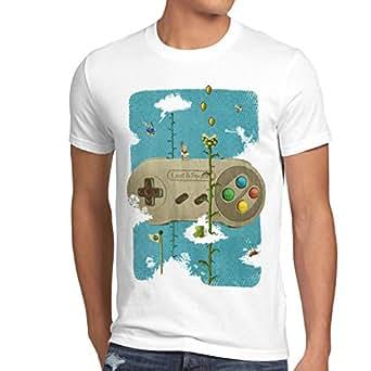 style3 16-Bit Nostalgie T-Shirt Homme snes mario super kart 8-bit yoshi, Talla:S;Color:Blanc
