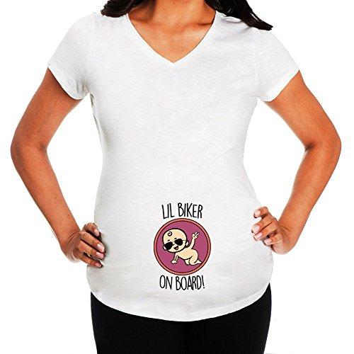 Idakoos - Lil biker on board - Maternity - Maternity T-Shirt (Biker Lil Friend compare prices)