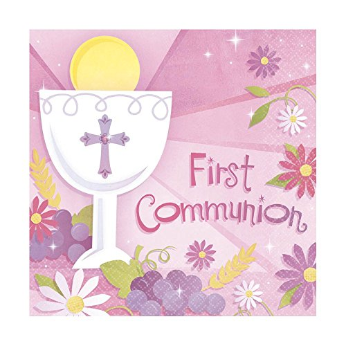 Pink First Communion Lunch Napkins 36 count