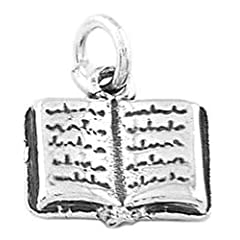 Sterling Silver One Sided Open Book Charm