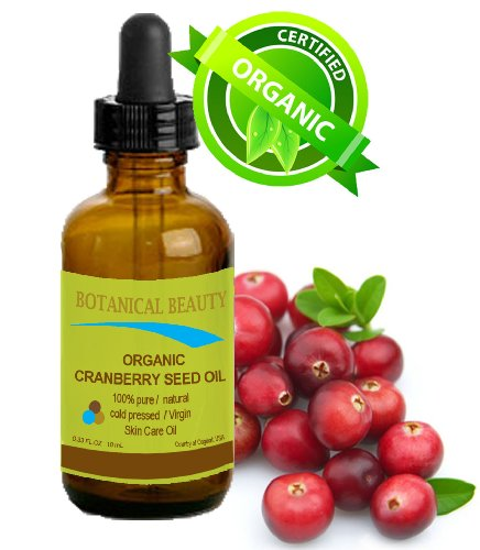 """Cranberry Seed Oil Organic 100% Pure / Natural / Undiluted/ Virgin. Cold Pressed / Undiluted Carrier Oil. For Face, Hair And Body. 0.33 Fl.Oz -10 Ml. """"One Of The Richest Natural Sources Of Vitamin A And A Remarkable And Stable Source Of Omega 3 And 6, Vit"""
