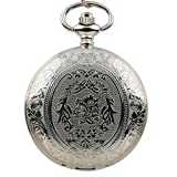 ESS Mens Stainless Steel Pattern Case White Dial Antique Style Pocket Watch with Chain WP029