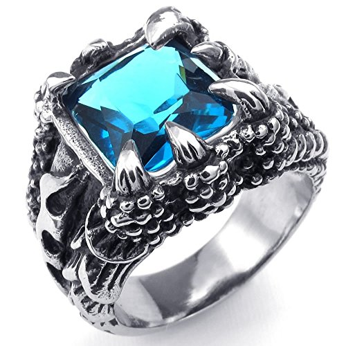 KONOV Jewelry Mens Crystal Stainless Steel Ring, Gothic Dragon Claw, Blue Silver, Size 8