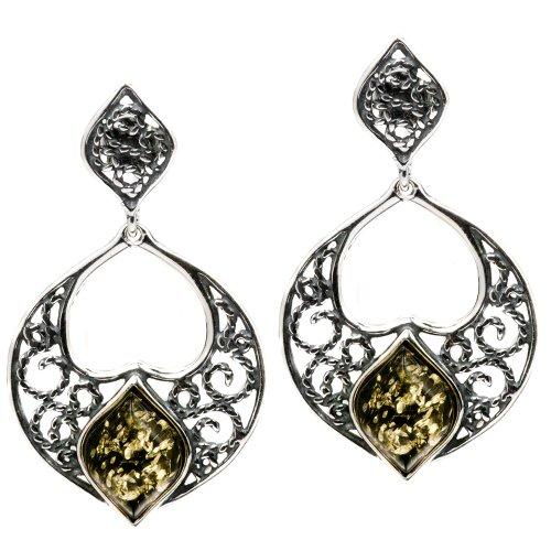 Green Amber Sterling Silver Filigree Dangle Stud Earrings