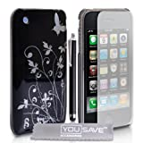 Apple iPhone 3 / 3G / 3GS Accessory Pack Designer Black And Silver Butterfly Flower Hard Hybrid IMD Case Cover With Stylus Pen Screen Protector And Grey Micro-Fibre Polishing Clothby Yousave