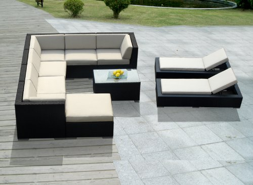 Genuine Ohana Outdoor Sectional Sofa and Chaise Lounge Set (10 Pc Set) with Free Patio Cover picture