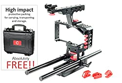 CAMTREE HUNT Mod Cage (CH-MODC-BMPC) rail Support with top handle for Blackmagic Pocket Camera BMPC FREE Black Hard Case Wire Clamps