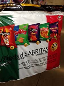 Frito Lay 20 Count Variety Snack Pack (Pack of 3) (60 Individual Single Serve Bags) (Sabritas Mix)