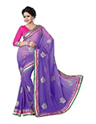 Desi Fusion Purple Chiffon Saree