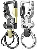 KEKU 2 Pack Car Key Chain Bottle Opener Keychain for Men and Women (Color: Gold + Gun Color)