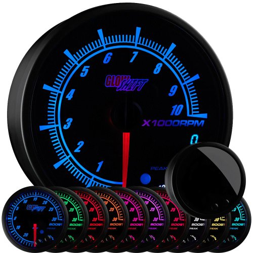 GlowShift Black Digital Tachometer /& Blue LED Shift Light