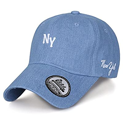 ililily Solid Color Cotton 'NY New York' Embroidery Curved Hat Baseball Cap