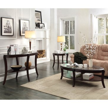 Homelegance Pierre 3 Piece Coffee Table Set w/ Glass Insert in Rich Espresso