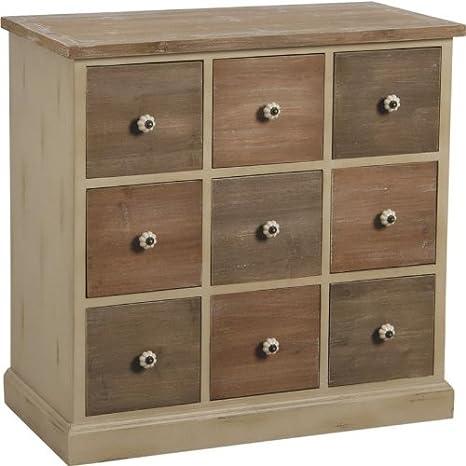 Commode de 9 tiroirs en pin avec poignées céramique