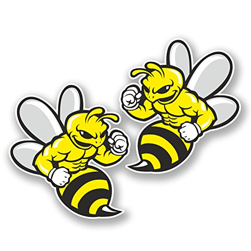 2-x-10cm-wasp-bee-hornet-vinyl-sticker-ipad-laptop-helmet-car-bike-gift-5845-9cm-wide-x-10cm-tall