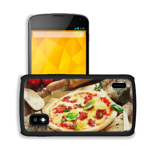 Pizza Dish Food Spices Tomatoes Cheese Dough Knife Fork Google Nexus 4 Mako Snap Cover Case Premium Leather Customized Made To Order Support Ready 5 3/16 Inch (132Mm) X 2 13/16 Inch (72Mm) X 4/8 Inch (12Mm) Liil Nexus_4 Professional Cases Touch Accessorie