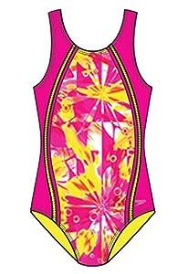 Speedo 7142320 Girls Tie Dye Blaze Sport Splice 1-Piece, Pink, 12