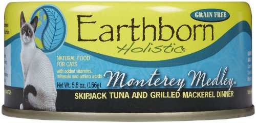 Earthborn Holistic Monterey Medley Skipjack Tuna And Grilled Mackerel Dinner Wet Cat Food, 5.5-Ounce Can, 24-Pack