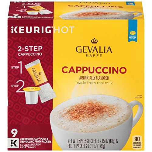 Gevalia Cappuccino K-CUP Pods and Froth Packets 9-Count (Cappuccino Coffee Pods compare prices)