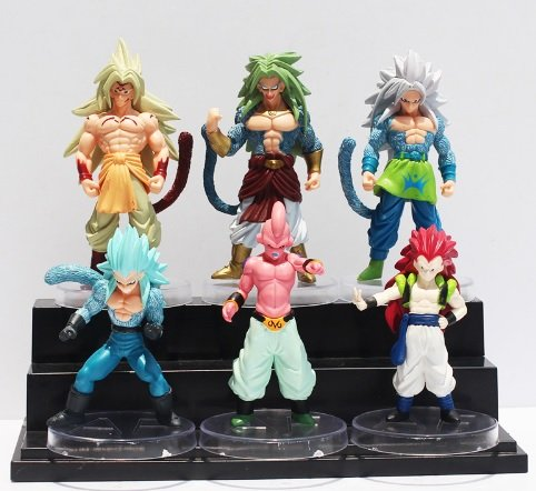 [6pcs/lot Anime Cartoon Dragon Ball Z PVC Action Figure Goku Son Toys Dolls] (Android 17 And 18 Costumes)