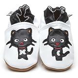 Chaussons Bébé en cuir doux Chat noir 6/12 mois