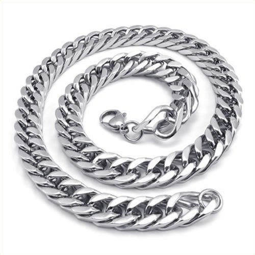 Konov Jewelry Heavy Large Mens Stainless Steel Necklace Link Chain - Silver - Length 22 Inch