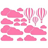 1 Pc Clouds Balloon For Kids Rooms Art Background Home Living Room Wall Stickers Lotus Flowers Animals Moon Star Decal Girls Bedroom Bumper Decals Immaculate Popular Vinyl Mural Decor, Type-03 (Color: Type-03)