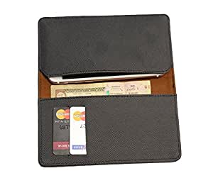 FING ™ Logo Black Dotted Designer Wallet Pouch Mobile Cover Case with Card holder Slots for Karbonn A4+
