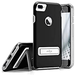 Zizo ELITE Cover for iPhone 7 Plus with Built-in MAGNETIC Kickstand and Tempered Glass, Black