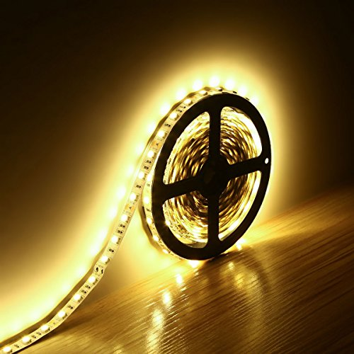 5M 16.4FT 5050 Super Bright Warm White LED Non-Waterproof Flexible Strip Light